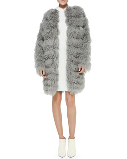 Ralph Lauren Collection Veronica Tiered Shearling Fur Coat & Charisses Hooded Tunic Dress