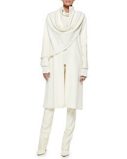 Ralph Lauren Collection Marielle Drape-Panel Coat, Long-Sleeve Turtleneck & Bradford Slim Wool Pants
