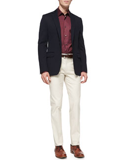 Salvatore Ferragamo Jersey Sport Coat, Small-Check Woven Shirt & Cotton Gabardine Pants