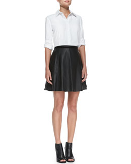 Neiman Marcus Piper French-Cuff Blouse & Lambskin Leather A-line  Skirt