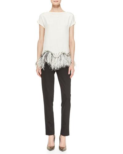 Lela Rose Embellished Feather-Hem Silk Blouse & Catherine Slim Cropped Pants