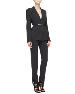 Donna Karan Fitted Blazer, Slim Pants with Satin Hem & Matte Silvertone-Buckled Belt