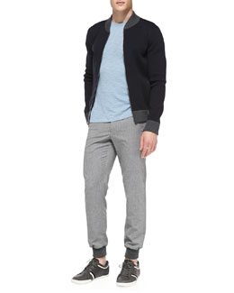 Vince Full-Zip Baseball Cardigan, Slub-Jersey Short-Sleeve Tee & Two-Tone Lux Sweatpant Trousers