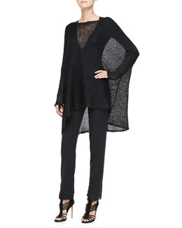 Donna Karan Long-Sleeve Poncho Top, Long-Sleeve V-Neck Bodysuit & Slim Pants with Satin Hem