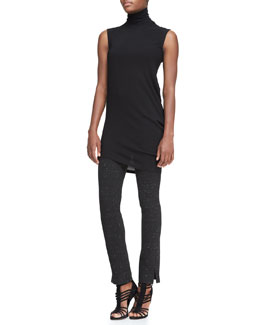 Donna Karan Sleeveless Long Turtleneck Top & Slim Pants with Ankle Vents