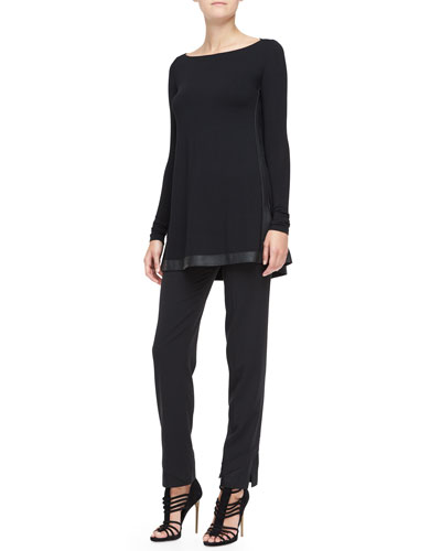 Donna Karan Long-Sleeve Tunic with Leather Trim & Slim Pants with Satin Hem
