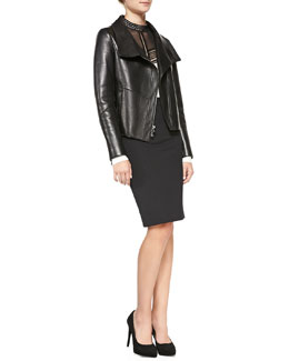 Veronica Beard Leather Funnel-Neck Driving Jacket, Long-Sleeve Lace-Inset Blouse & Zip-Back Pencil Skirt
