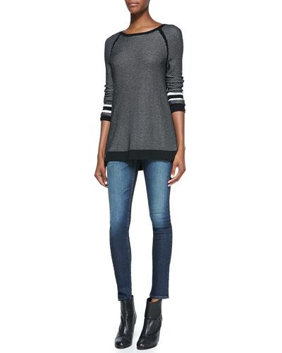 rag & bone/JEAN Martina Striped-Detail Jersey Pullover & The Skinny Denim Jeans