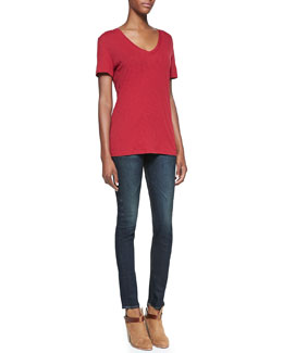 rag & bone/JEAN The Classic V-Neck Jersey Top & The High-Rise Chaucer Skinny Denim Jeans