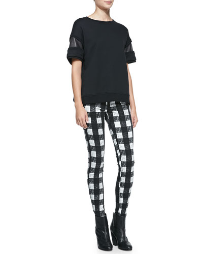 rag & bone/JEAN Lira Leather-Inset Fleece Top & RBW 23 White Buffalo Check Zip-Pocket Twill Jeans