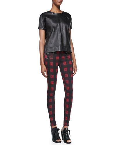 rag & bone/JEAN Lambskin Leather Sweatshirt & RBW 23 Zip-Pocket Twill Jeans