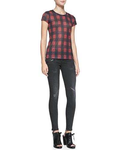 rag & bone/JEAN Buffalo Check Short-Sleeve Tee & RBW 23 Blackthorne Distressed Skinny Jeans
