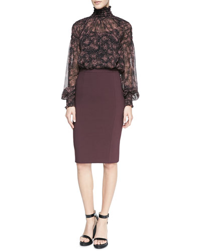 Michael Kors  Ruffle-Trim Printed Blouse & Fitted Stretch Pencil Skirt