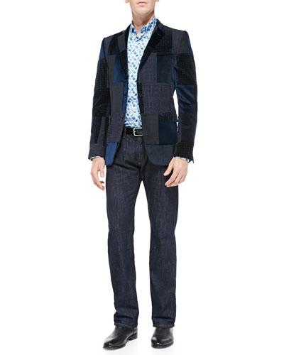 Etro Patchwork Velvet Jacket, Small-Paisley Print Poplin Shirt & Dark-Wash Five-Pocket Jeans