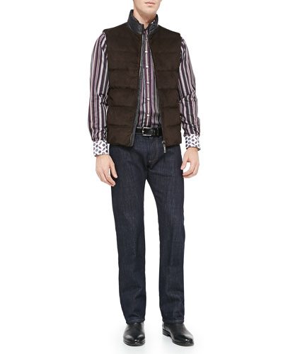 Etro Suede & Paisley-Nylon Puffer Vest, Striped Sport Shirt with Contrast Collar & Dark-Wash Five-Pocket Jeans
