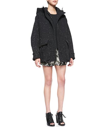 Rag & Bone Thompson Splattered Jersey Coat, Lydia Silk Jersey High-Low Top & Em Printed Twill Shorts