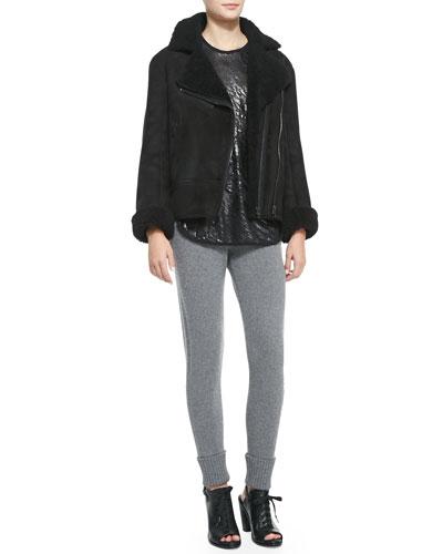 Rag & Bone Shearling Fur Asymmetric Zip Jacket, Wyeth Crackled Solid-Trim Tank & Charlize Sweater-Knit Cuffed Leggings