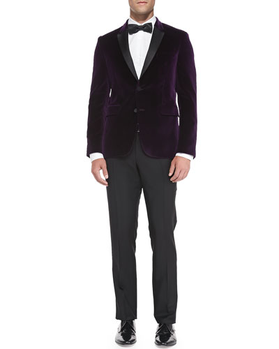 Velvet Evening Jacket, Woven Button-Down Shirt, Wool/Mohair Tailored Trousers & Solid Silk Bow Tie