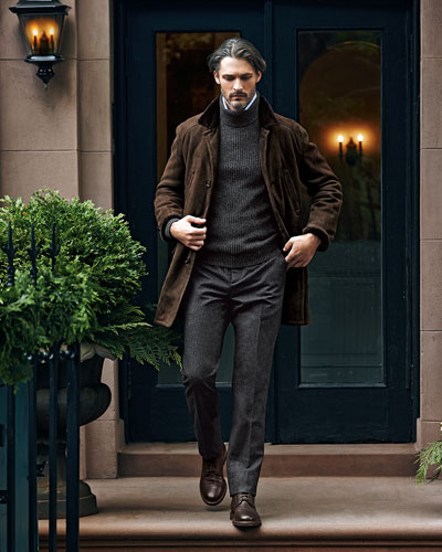 Brunello Cucinelli Shearling Fur-Lined Suede Jacket, Melange Cashmere Shaker-Knit Sweater, Fine-Stripe Poplin Shirt & Single-Pleat Wool Trousers