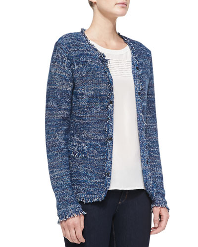 Neiman Marcus Hook-Front Fringed Tweed Jacket & Tucked Pleats Detail Silk Blouse