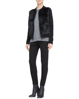 Vince Fur Stand-Collar Cardigan, Cashmere Back-Overlay Top & Leather-Trim Relax Trousers