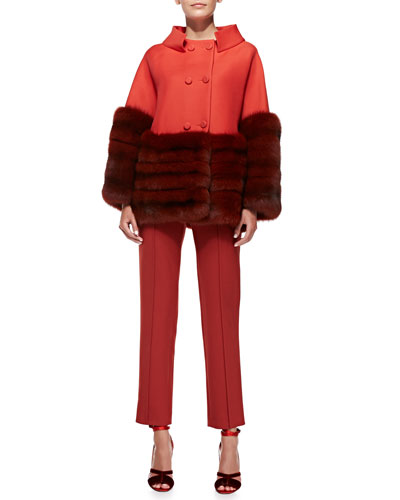 "Carolina Herrera Fur-Trim Swing Coat & Cropped Stretch Wool Straight-Leg Pants<br>This item may still be available in stores. <a href=""http://www.neimanmarcus.com/stores/index.jsp""target=""_blank"">Find your nearest NM</a><br>"