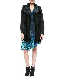 Nanette Lepore Luscious Rabbit-Fur/Knit Coat & Mystery Asymmetric Floral-Print Dress