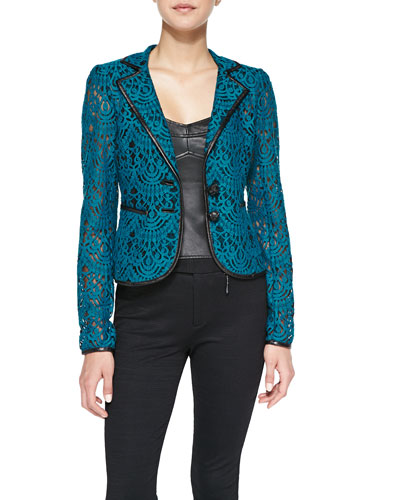 Nanette Lepore I Spy Leather-Trim Lace Jacket and Open & Shut Leather/Ponte Corset Top