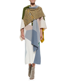 Missoni Cashmere Colorblock Rib Knit Dress & Shawl