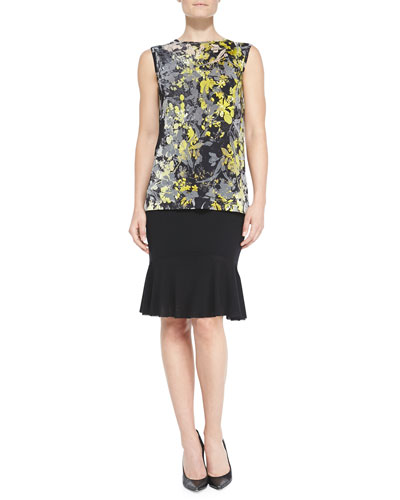 Fuzzi Sleeveless Floral Top & Flared-Hem Skirt