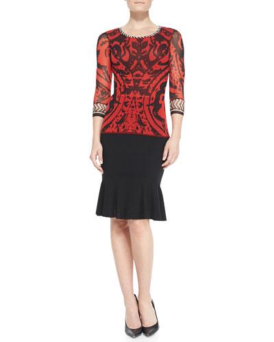 Fuzzi 3/4-Sleeve Combo-Patterned Top & Flared-Hem Skirt