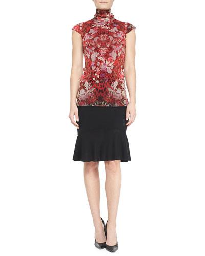 Fuzzi Cap-Sleeve Reptile/Floral-Print Top & Flared-Hem Skirt
