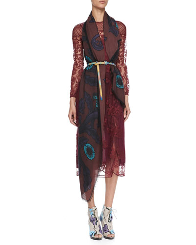 Burberry Prorsum Floral-Embroidered Tulle Dress & Vine Cashmere Scarf