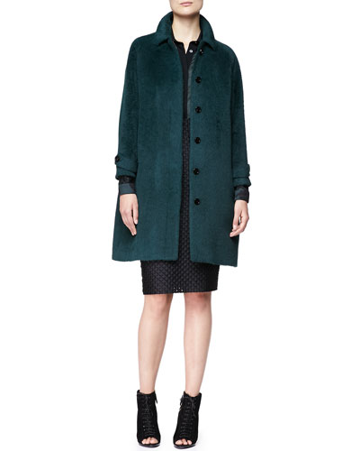 Burberry London Alpaca-Blend Drop-Sleeve Coat, Wide Placket Floral Shirt & Fil Coupe Pencil Skirt