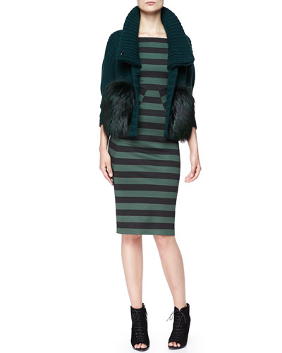 Burberry London Wool-Cashmere Chunky Fur-Front Jacket & Striped Short-Sleeve Dress