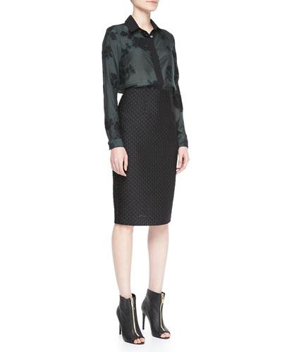 Burberry London Wide Placket Floral Shirt & Fil Coupe Pencil Skirt