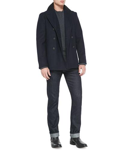 Rag & Bone Downing Wool-Blend Peacoat, Zeeland Shoulder-Patch Sweater & Dark Indigo Selvedge Denim Jeans