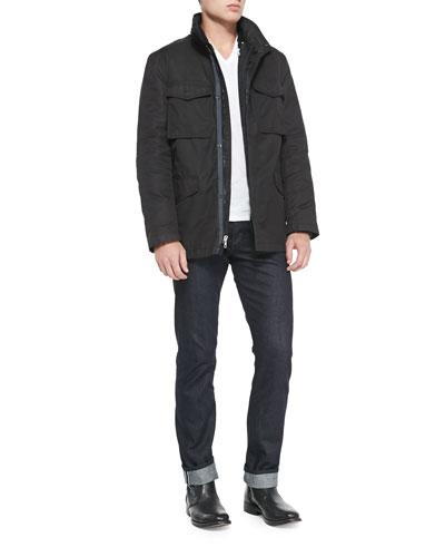 Rag & Bone Division 3-in-1 Field Jacket, Jersey V-Neck Tee & Dark Indigo Selvedge Denim Jeans