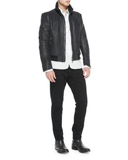 Rag & Bone Seth Leather Jacket, 3/4-Placket Striped Woven Shirt & Skinny Denim Jeans