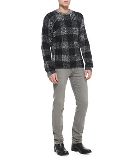 Rag & Bone Theo Plaid Knit Sweater & Slim Skinny Denim Jeans