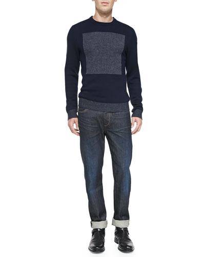 Rag & Bone Joel Merino Wool Sweater & Slim Straight Raw Selvedge Jeans