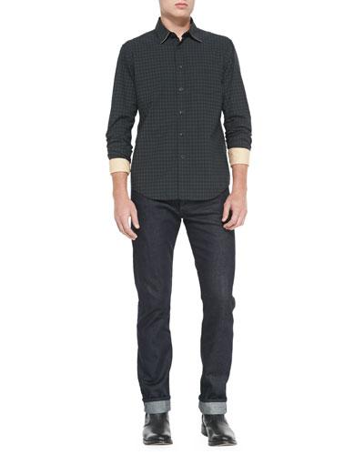 Rag & Bone Yokohama Check Long-Sleeve Shirt & Dark Indigo Selvedge Denim Jeans