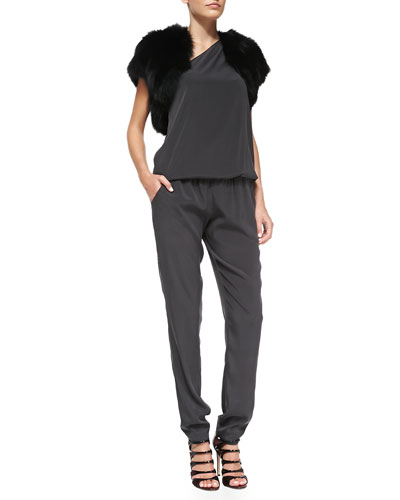 Ramy Brook Fox Fur Shrug & Lulu Blouson-Top Stretch-Silk Jumpsuit