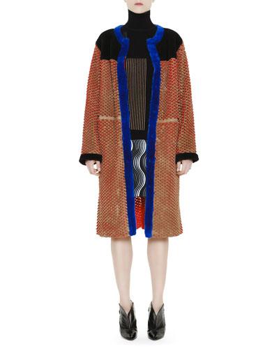 Honeycomb-Cutout Coat with Shearling, Long-Sleeve Rib-Knit Optical Sweater & Jacquard Lace Pleat Wave Miniskirt