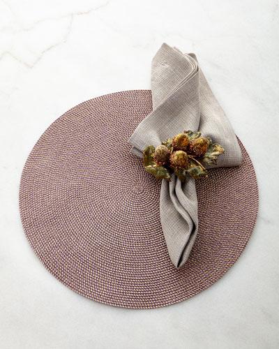 Glimmer Placemat, Reversible Metallic Napkin, & Gilded Acorn Napkin Ring