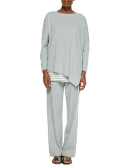 Joan Vass Oversized Asymmetric Cotton Top, Striped Cotton Tank, Full-Length Jog Pants, Petite