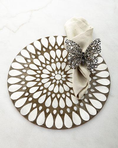 Teardrop Capiz Placemat, Reversible Napkin, & Lace Butterfly Napkin Ring