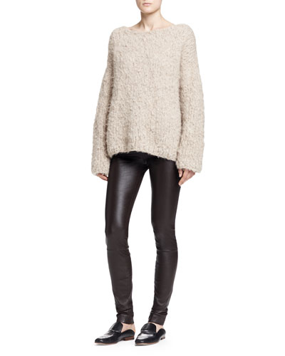 THE ROW Sky Long-Sleeve Cashmere Top & Pull-On Leather Moto Leggings