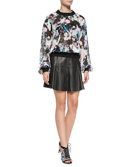 Rebecca Minkoff Max Solid-Trim Sheer Printed Top & Ibiza Leather A-Line Skirt