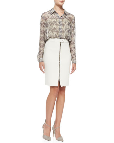 L'Agence Long-Sleeve Lotus Flower-Print Blouse & Zip-Front Pencil Skirt